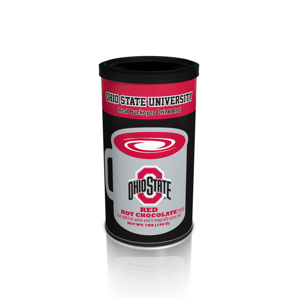 College Colors Hot Chocolate 7 oz. round - Ohio State Colorful Red Hot Chocolate (CLOSEOUT - BEST BY MARCH 2021)