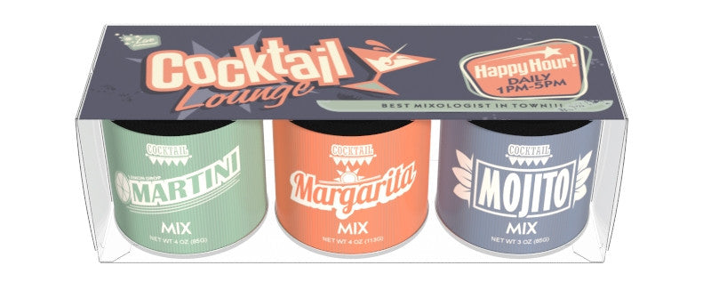 Gift Set Round Canisters Cocktail mix - McSteven's Cocktail Lounge Art - 3-3 oz round canisters