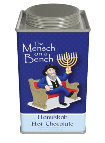 Square Tin Drink Cocoa - The Mensch On The Bench Hanukkah Double Chocolate - 6.25 oz