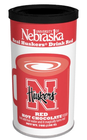 College Colors Hot Chocolate 7 oz. round - University of Nebraska Colorful Red Hot Chocolate