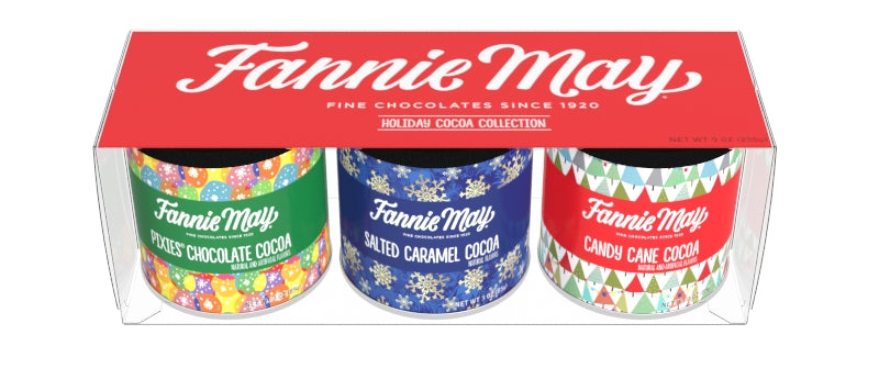 An image of our Fannie May art cocoa canisters.