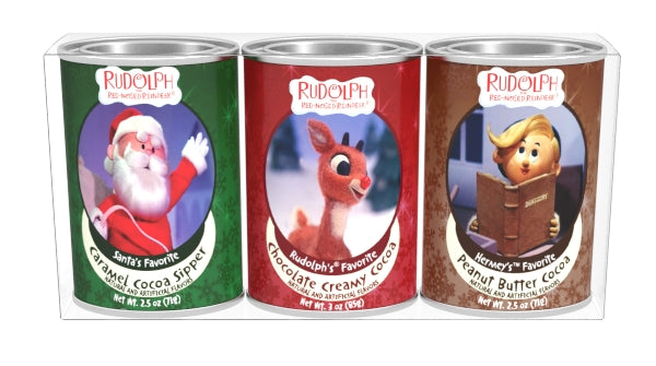 Gift Set Oval Tins Cocoa - Rudolph The Red-Nosed Reindeer© Art - 3-2.5 oz oval tins