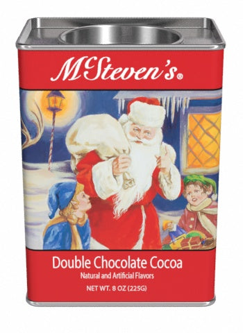 Rectangular Tin Round Plug Cocoa - McSteven's Original Christmas Double Chocolate - 8 oz