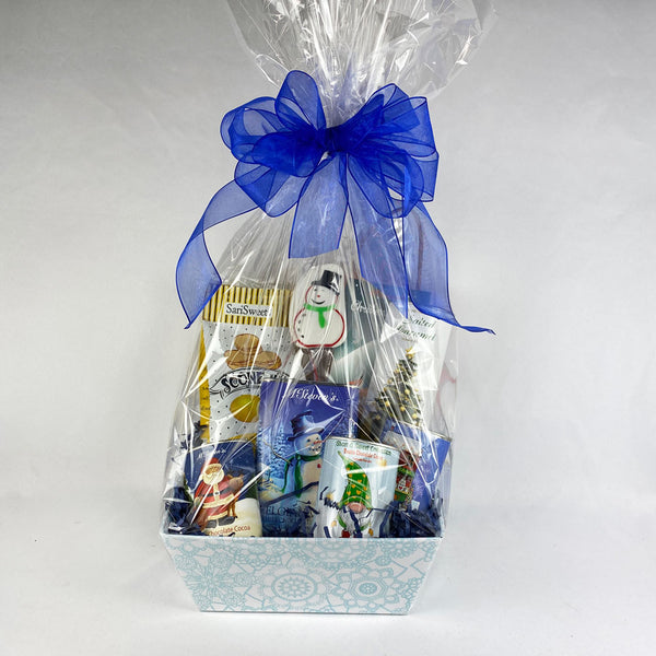 Blue Christmas Gift Basket