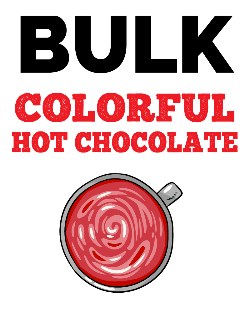 An image of McStevens' bulk colorful hot chocolate.