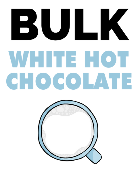 An image of McStevens' white hot chocolate in bulk.