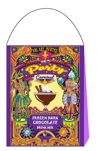 An image of McStevens' Carnival themed frozen dark hot chocolate.