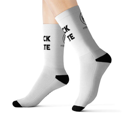 HYBRID NATION 'F*CK HATE' SOCKS Socks Printify