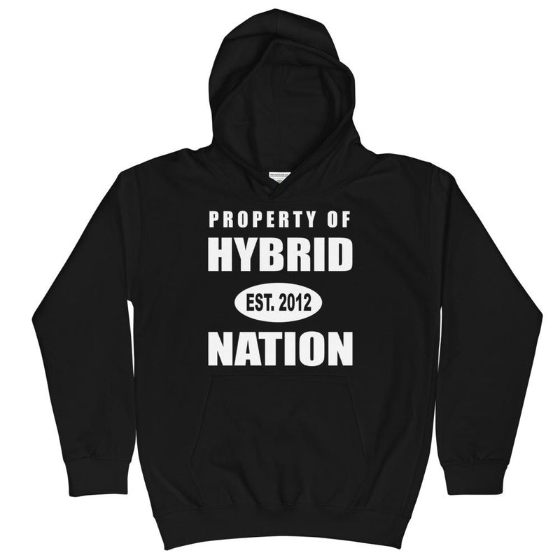 HYBRID NATION KIDS 'PROPERTY OF' HOODIE Kids Sweatshirt Printful Heather Grey XS