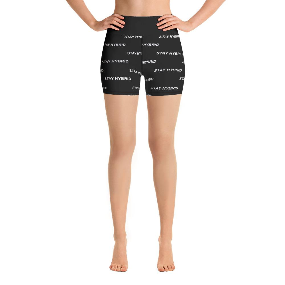 HYBRID NATION WOMEN ATHLETIC SHORTS Women's Athletic Shorts Printful XS Black