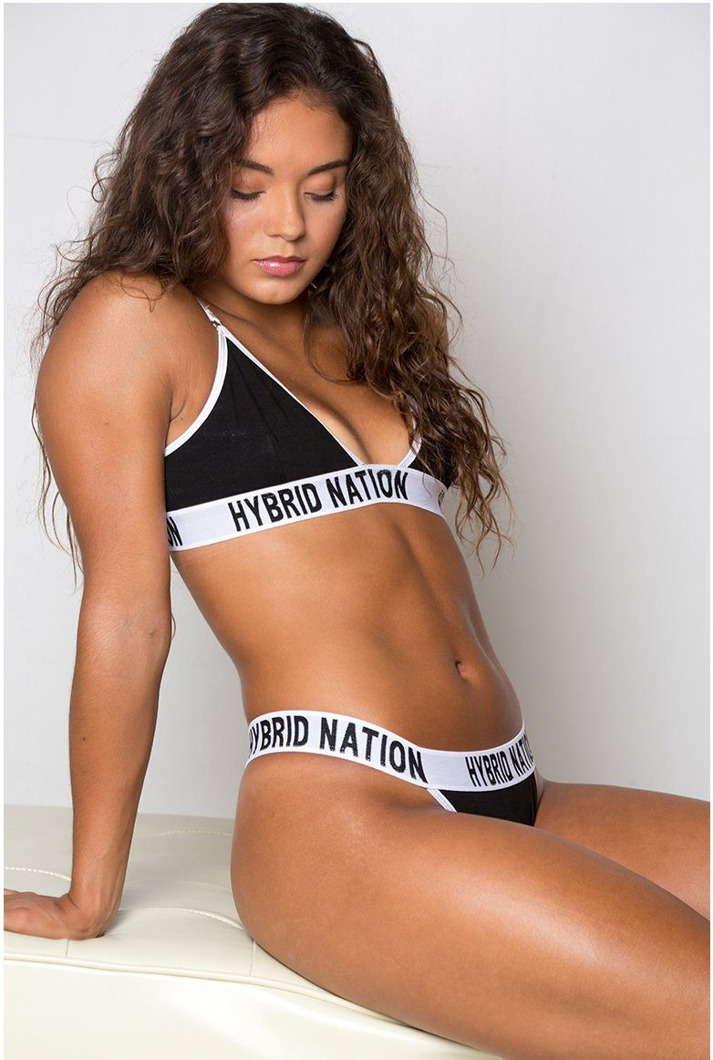 HYBRID NATION WOMEN BLACK TRIANGLE BRA & THONG Underwear Set Hybrid Nation Women M 2XL