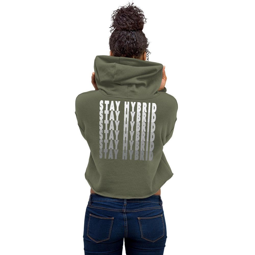 HYBRID NATION WOMEN CROP 'LOGO HOODIE' Women's Sweatshirt Printful Military Green S