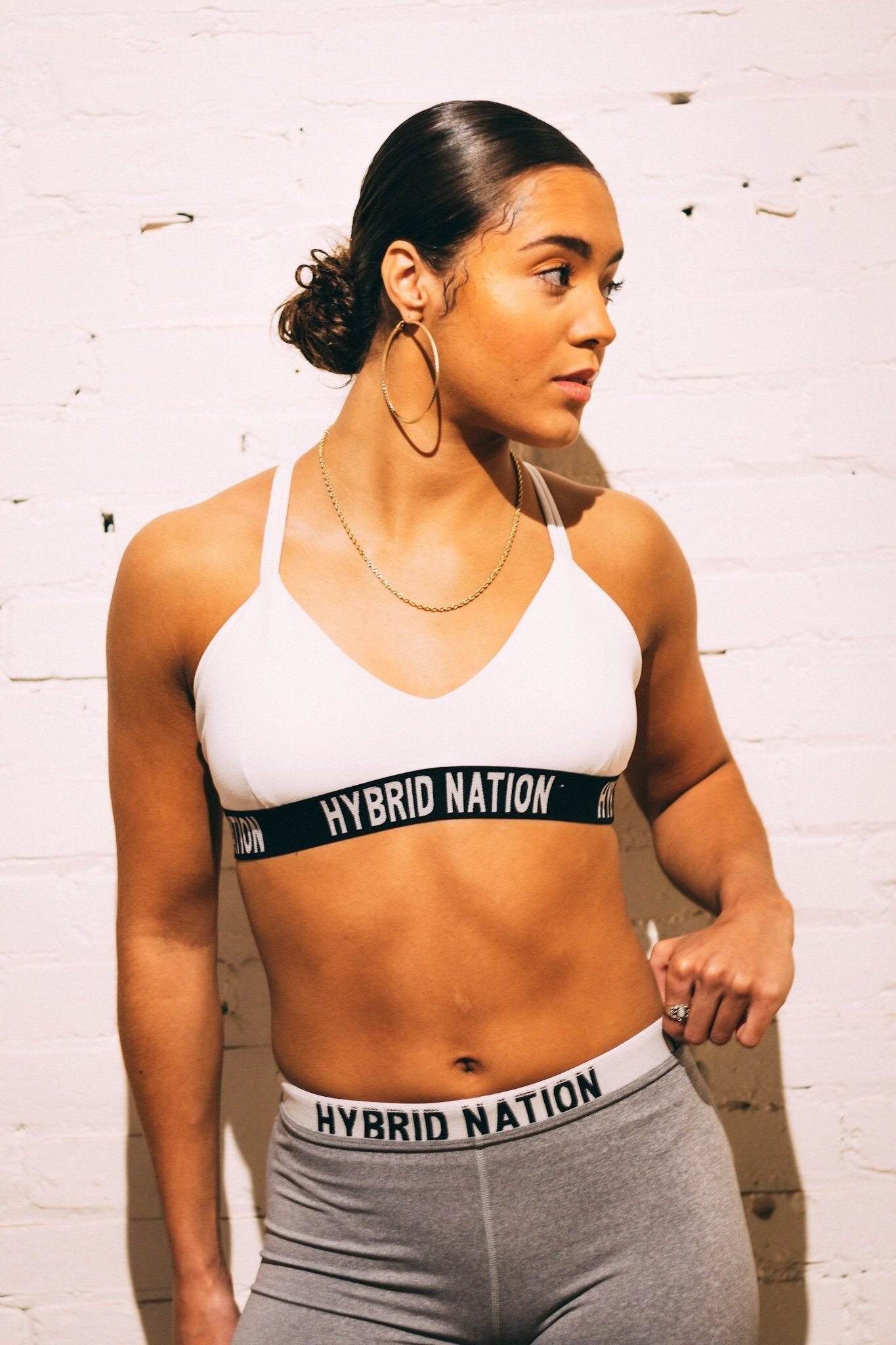 HYBRID NATION WOMEN FREE COMFORT SPORTS BRA (WHITE) Women's Sports Bra Hybrid Nation Women (China) XS