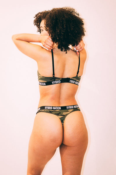 HYBRID NATION WOMEN GREEN CAMO TRIANGLE BRA & THONG Underwear Set Hybrid Nation Women