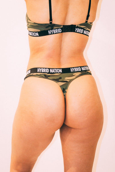 HYBRID NATION WOMEN GREEN CAMO TRIANGLE THONG Women's Underwear Hybrid Nation Women (China)
