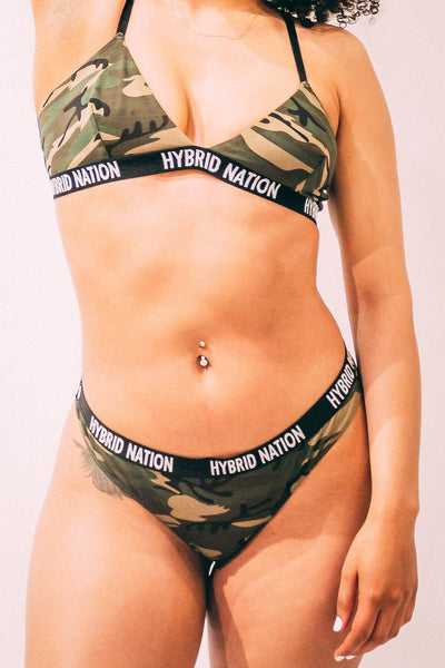 HYBRID NATION WOMEN GREEN CAMO TRIANGLE THONG Women's Underwear Hybrid Nation Women (China) XS