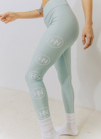 HYBRID NATION WOMEN HIGH-WAISTED LEGGINGS (MINT) Women's Athletic Leggings Printful XS