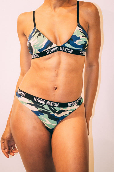 HYBRID NATION WOMEN NAVY CAMO TRIANGLE THONG Women's Underwear Hybrid Nation Women (China)