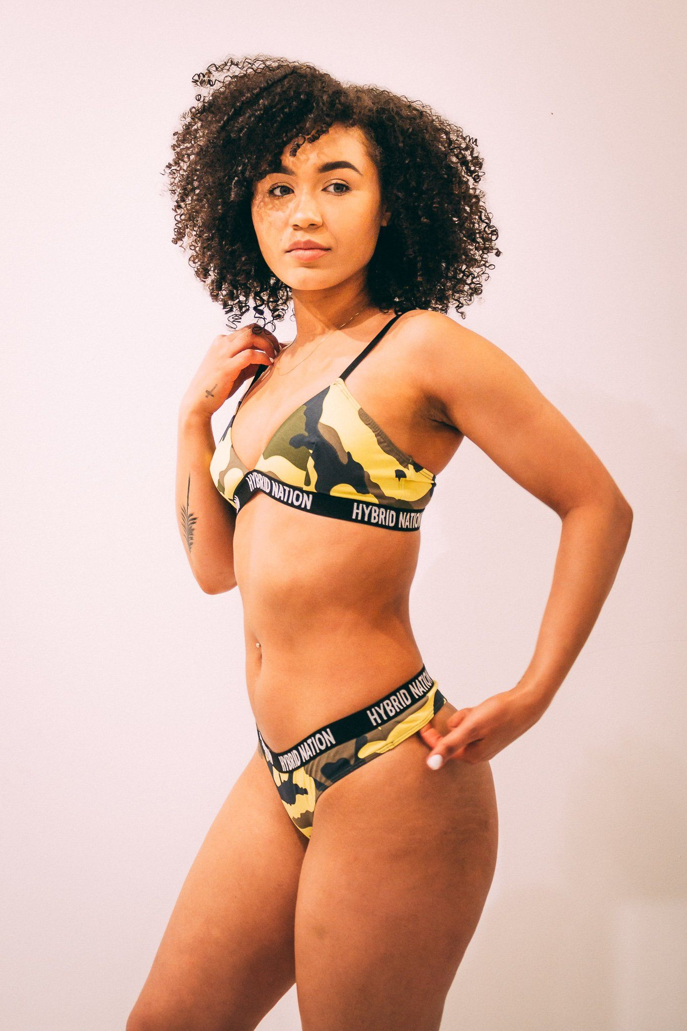 HYBRID NATION WOMEN NEON YELLOW CAMO TRIANGLE BRA & THONG Underwear Set Hybrid Nation Women