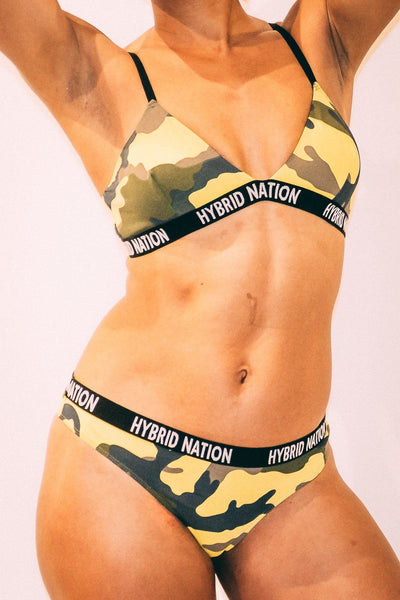 HYBRID NATION WOMEN YELLOW CAMO TRIANGLE THONG Women's Underwear Hybrid Nation Women (China)
