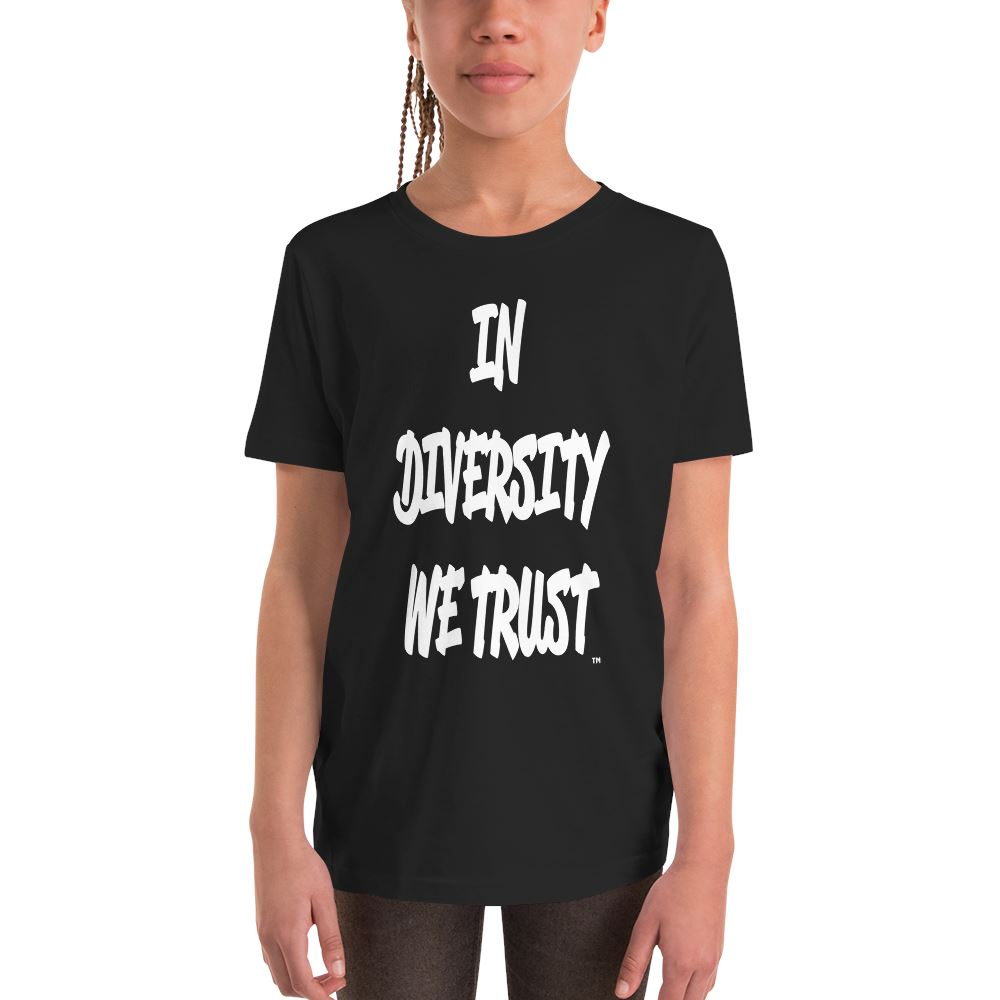 YOUTH IN DIVERSITY WE TRUST SIGNATURE T-SHIRT (BLACK) Kids T-Shirt Printful