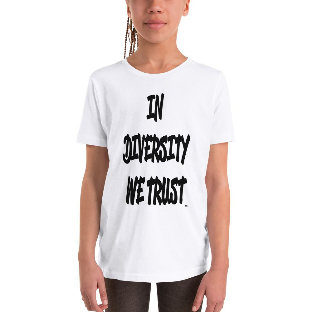 YOUTH IN DIVERSITY WE TRUST SIGNATURE T-SHIRT (WHITE) Kids T-Shirt Printful