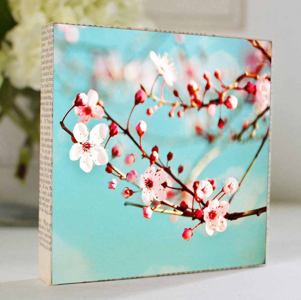 "Salvaged Wood and Book Paper 5x5 Art Block ""Blossoms"""