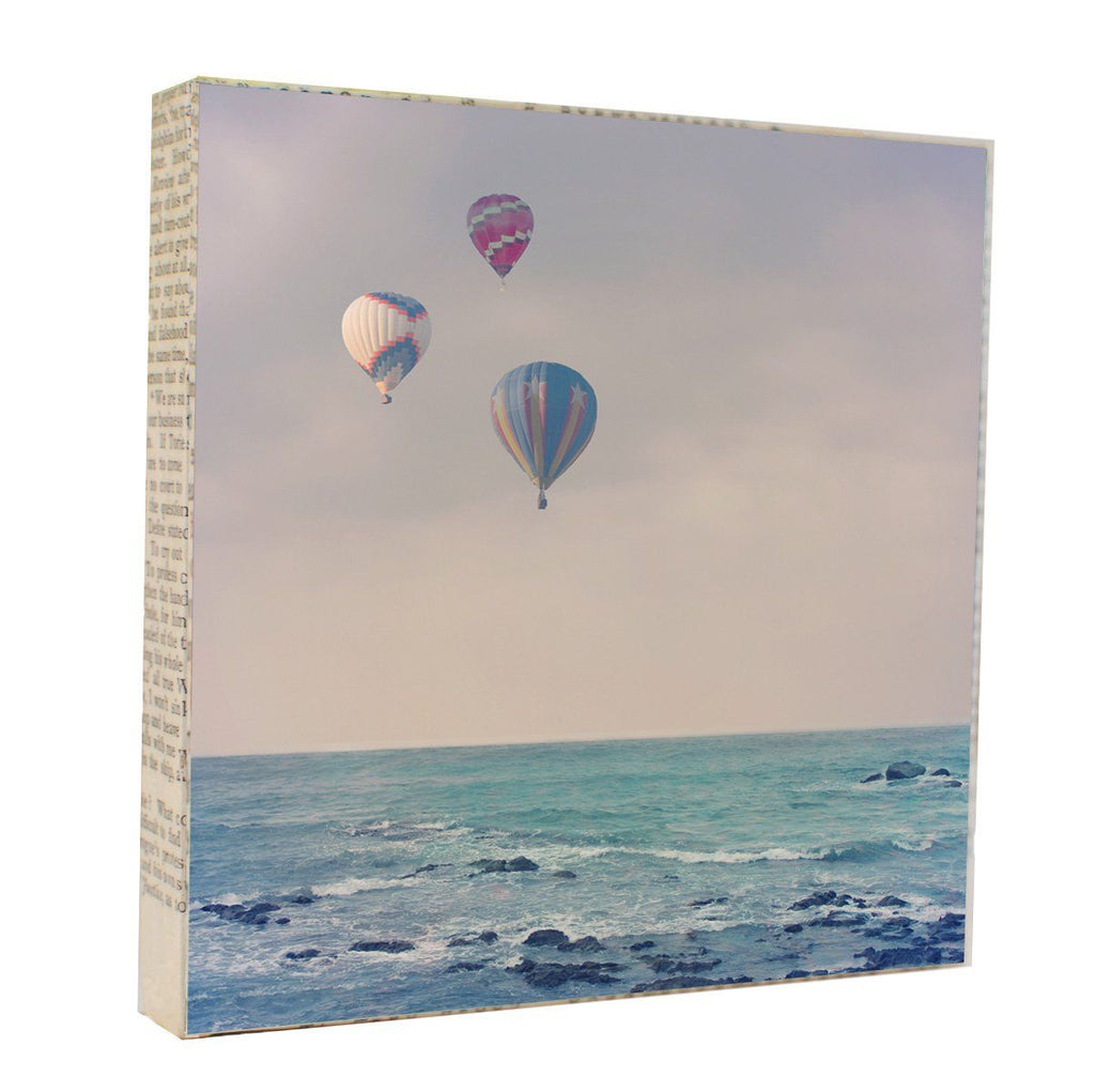 "Salvaged Wood and Book Paper 5x5 Art Block ""Balloons at Sea"""