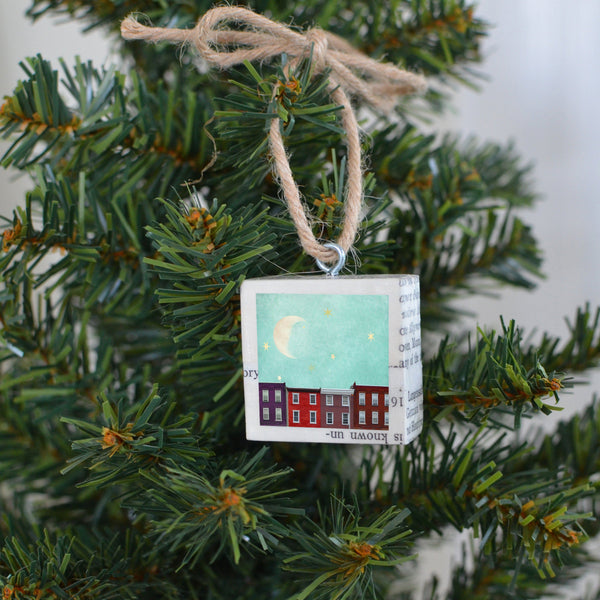 "Salvaged Wood Holiday Tree Ornament ""Dreaming Stars"""