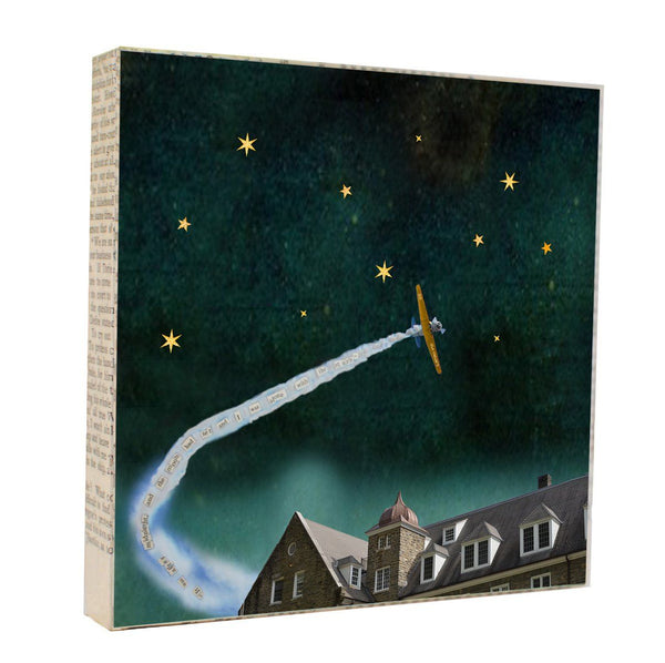 "Salvaged Wood and Book Paper 5x5 Art Block ""Alone with the Stars"""