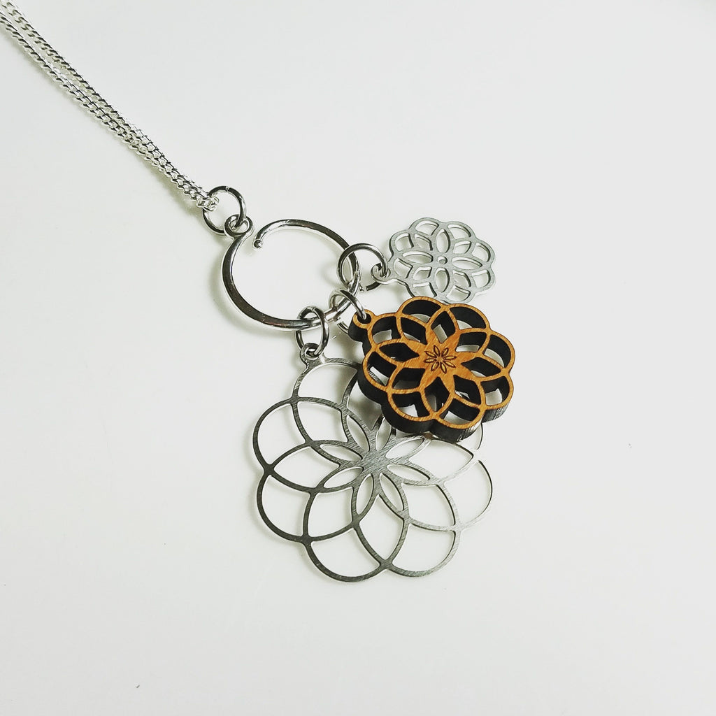 Spiral Flower Charm Necklace