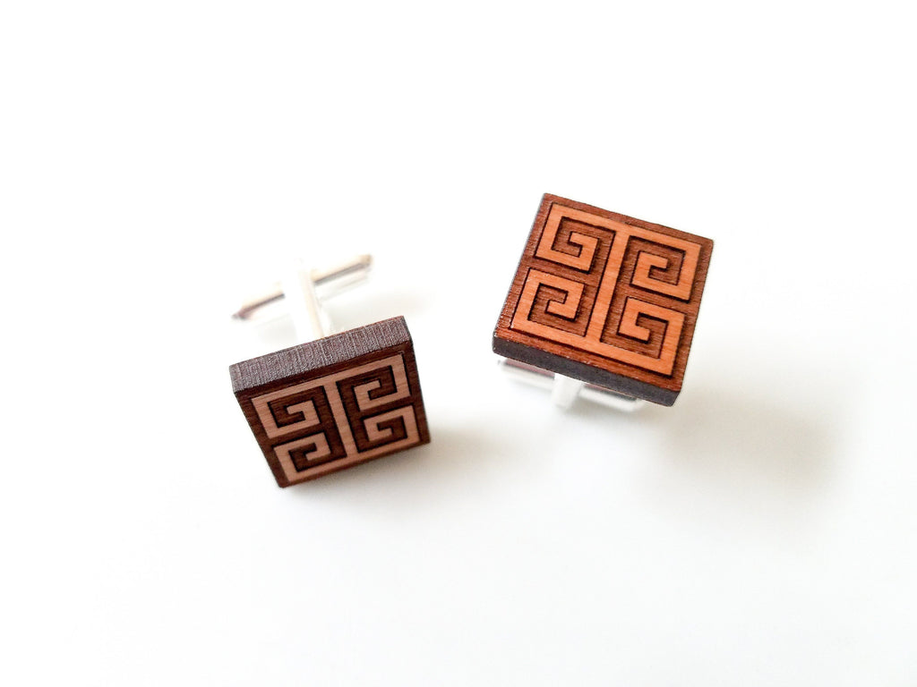 Greek Key Cherry Wood Cufflinks