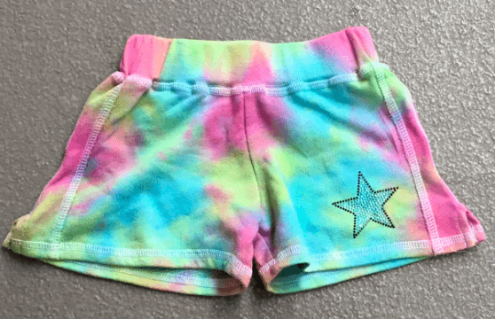 Girls Multi Tie Dye Pastel Gym Short w/Applique