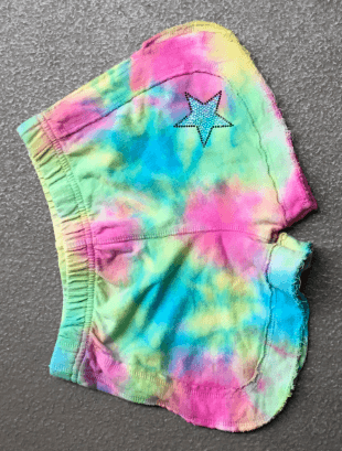 Girls Multi Pastel Tie Dye Track Short with Star Applique