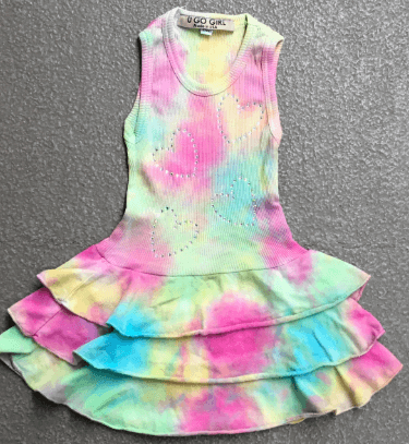Girls Tie Dye Rib Tank Ruffle Bottom Dress