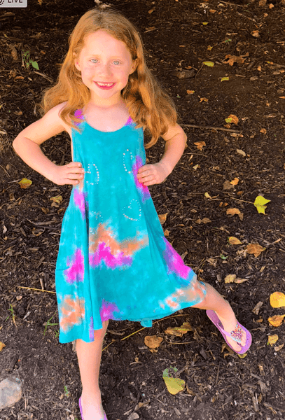Girls Tie Dye Swing Dress with Pockets and Stone Appliques