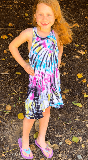 Girls Tie Dye Swing Pocket Dress