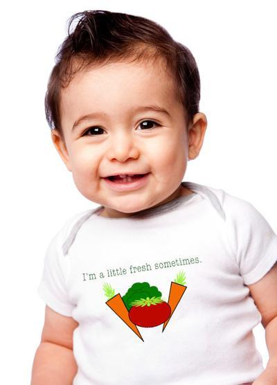 Veggie Organic Cotton Baby Romper. I'm a little fresh sometimes