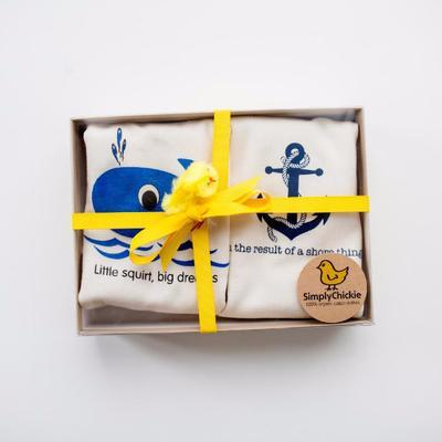 Gift Set/2 Organic Baby Rompers. Whale + Anchor