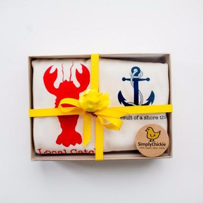 Gift Set/2 Organic Baby Rompers. Nautical