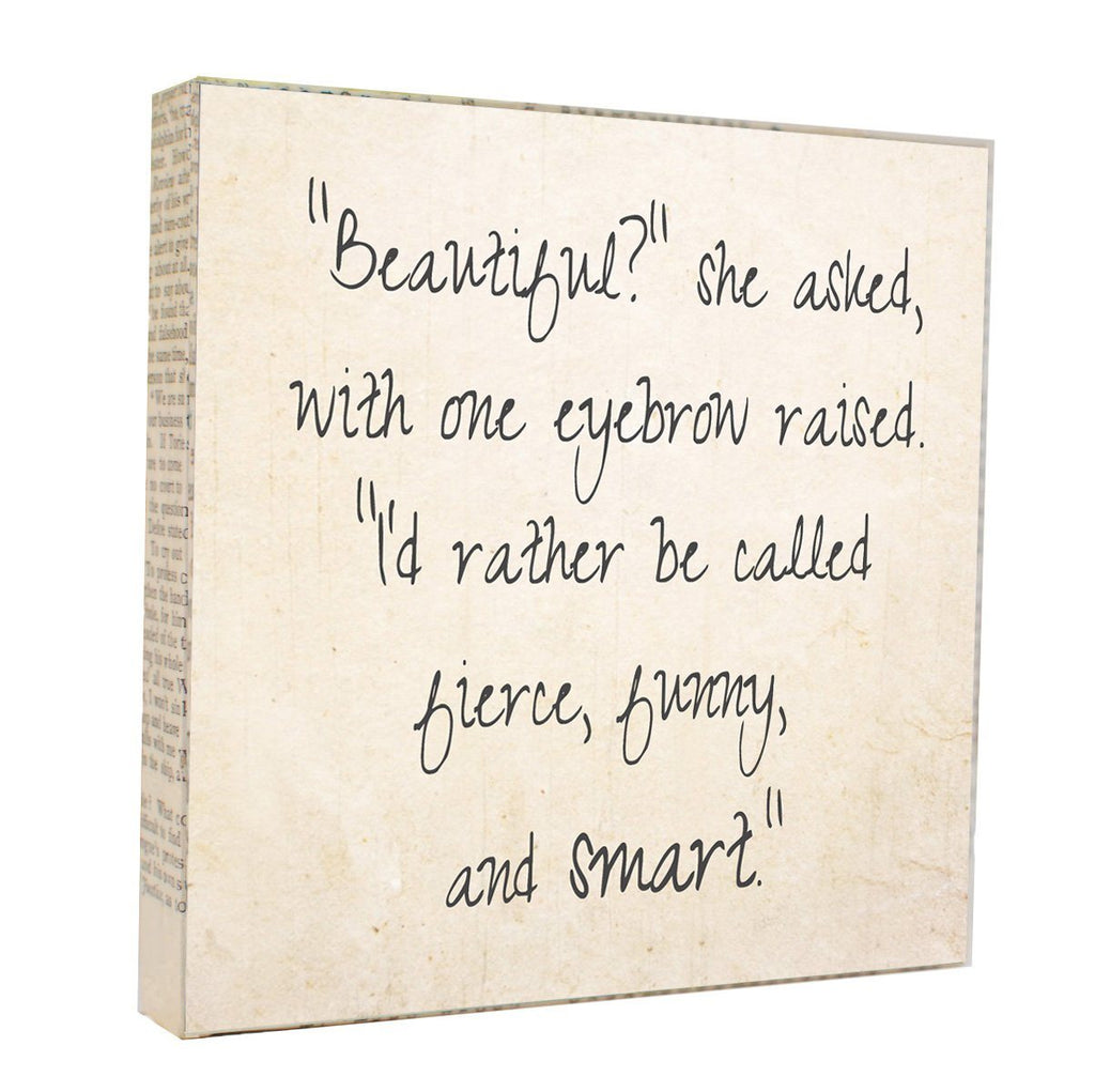 "Salvaged Wood and Book Paper 5x5 Art Block ""Beautiful"""