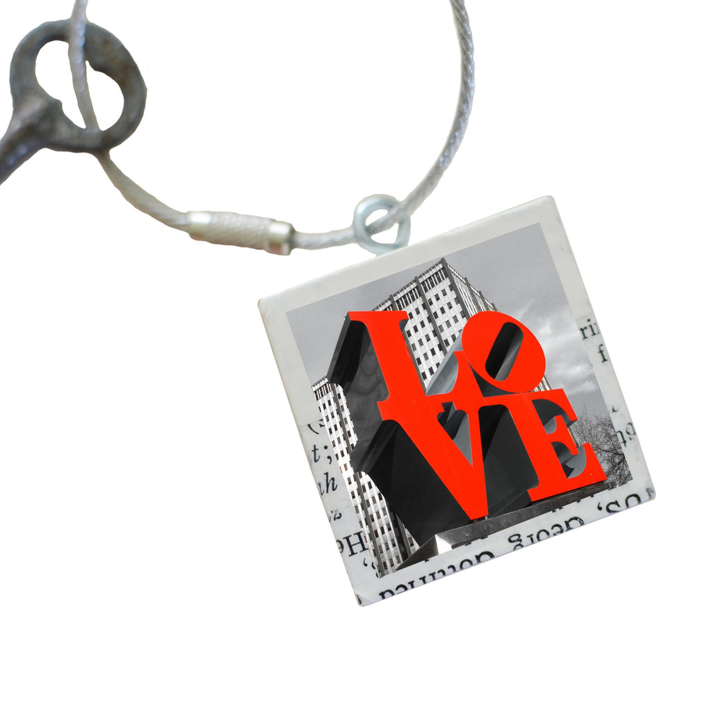 "Salvaged Wood Keychain/Purse Charm ""Love Park"""