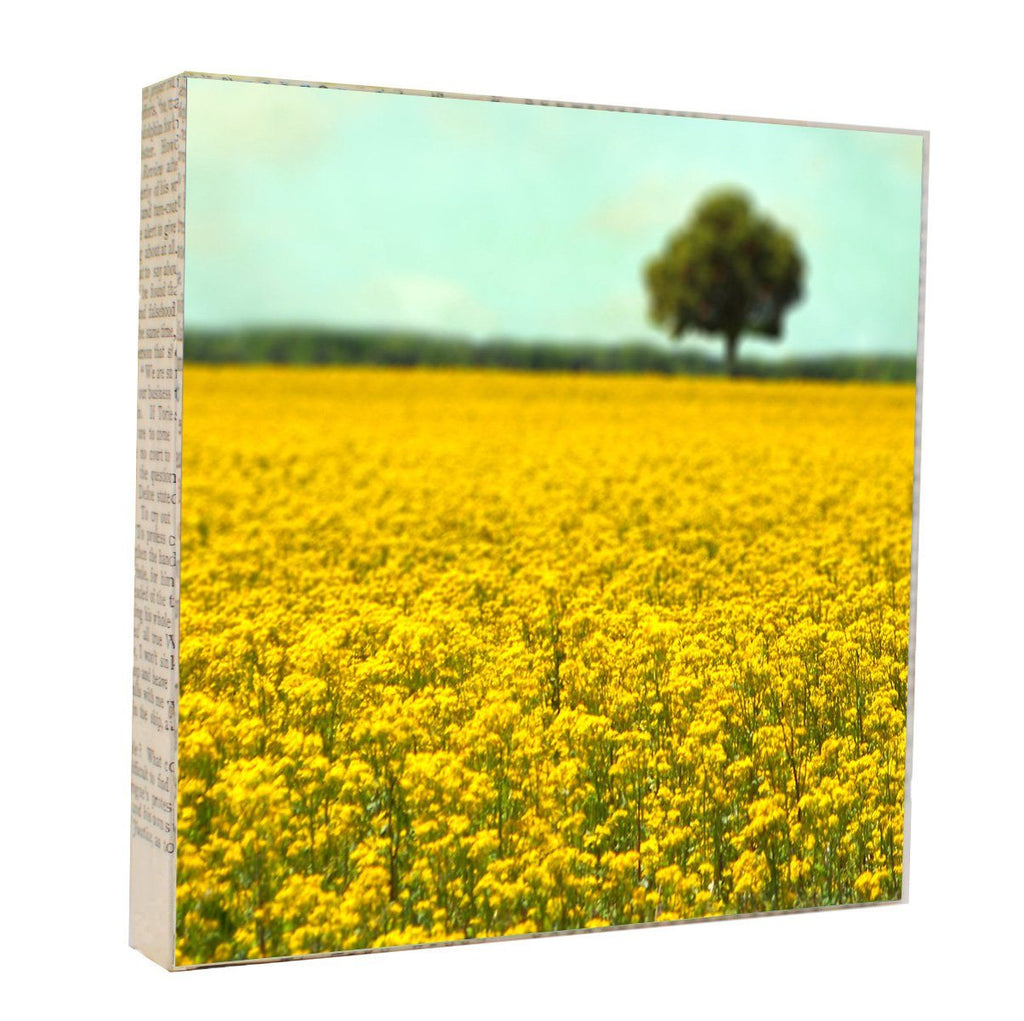 "Salvaged Wood and Book Paper 5x5 Art Block ""Yellow Fields"""