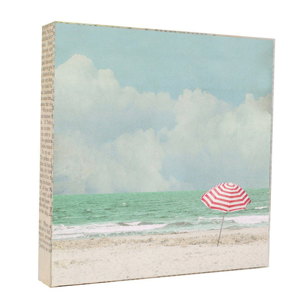 "Salvaged Wood and Book Paper 5x5 Art Block ""Umbrella"""