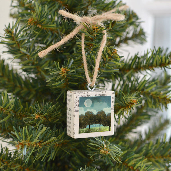 "Mixed Media Salvaged Wood Holiday Tree Ornament ""Magic Forest"""