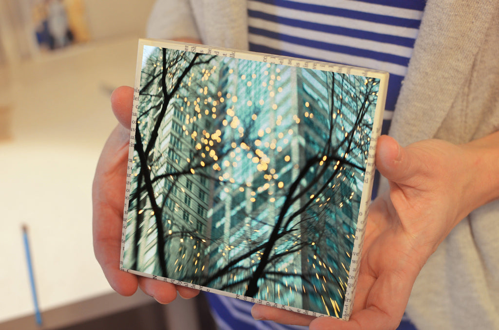 "Salvaged Wood and Book Paper 5x5 Art Block ""Chicago Lights"""