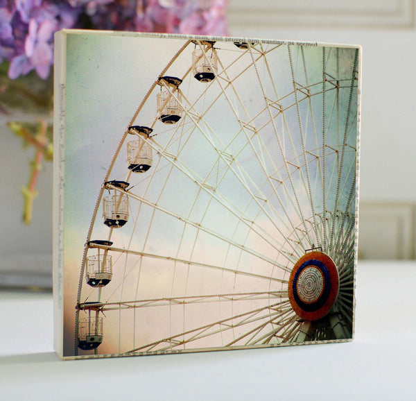 "Salvaged Wood and Book Paper 5x5 Art Block ""Ferris Wheel"""