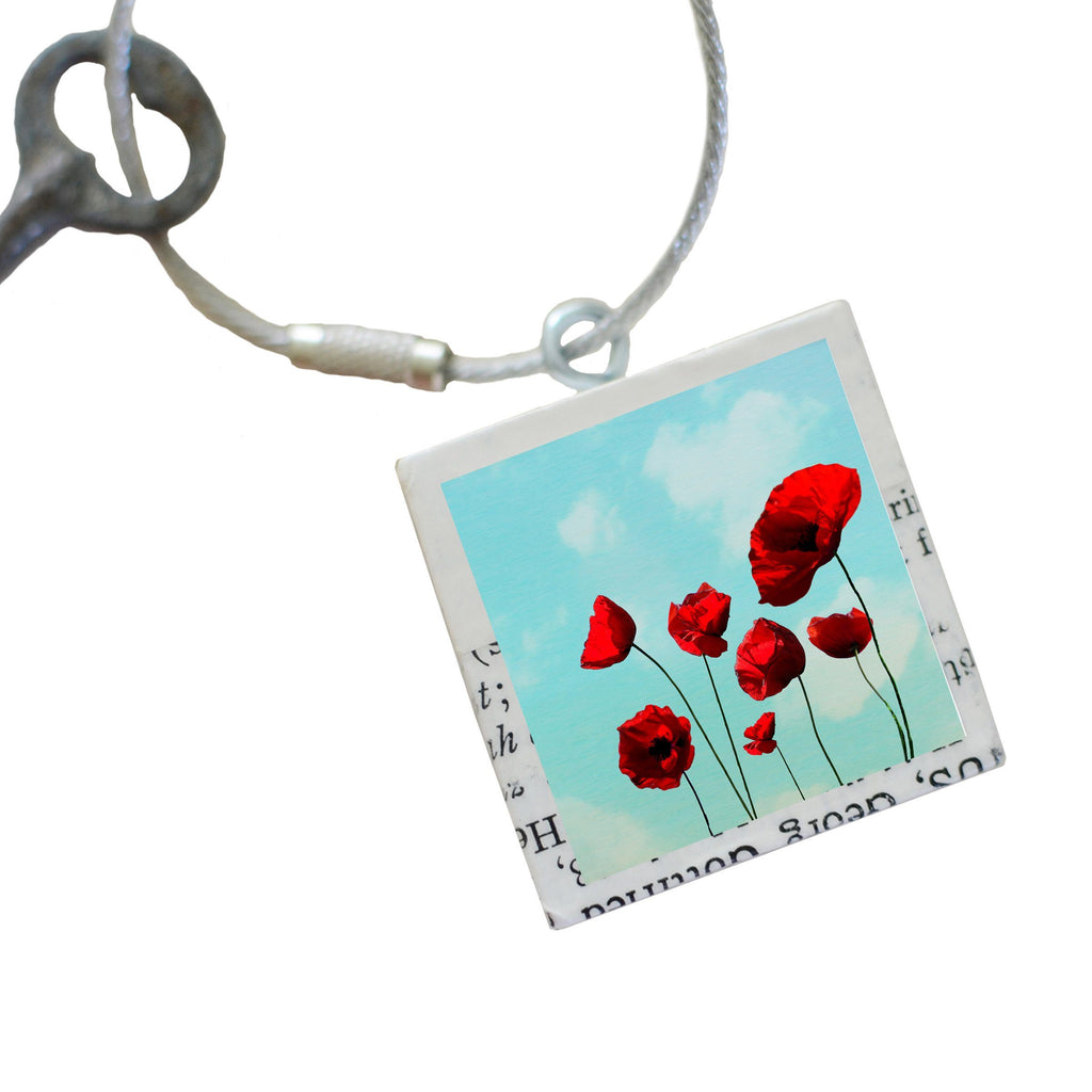 "Salvaged Wood Keychain/Purse Charm ""Poppies"""