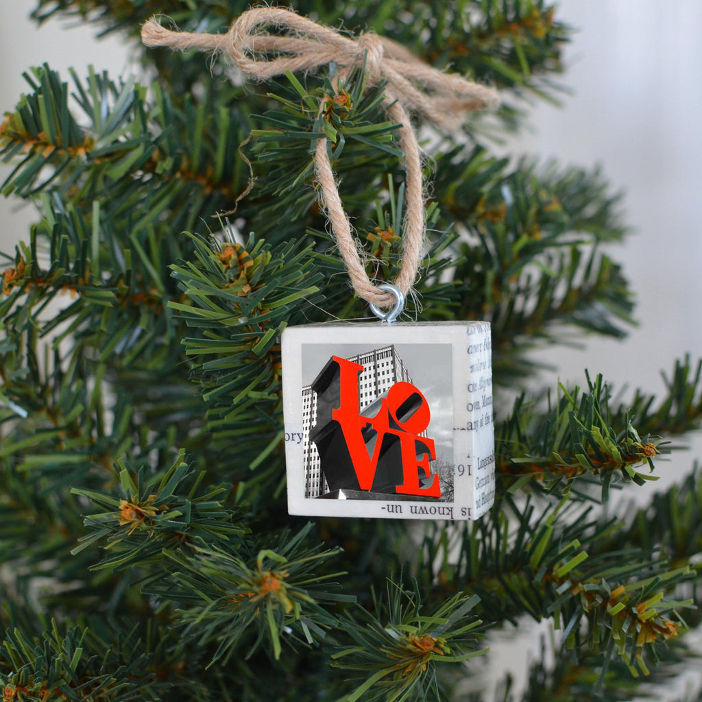 "Mixed Media Salvaged Wood Holiday Tree Ornament ""Love Park"""
