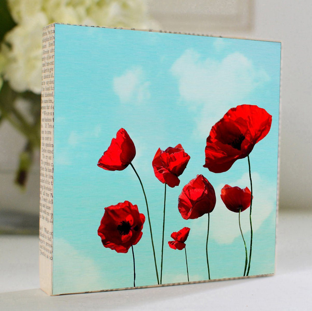 "Mixed Media Salvaged Wood and Book Paper 5x5 Art Block ""Poppies"""